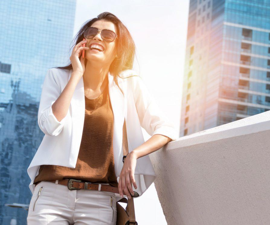 Woman talking on the phone to a recruiter
