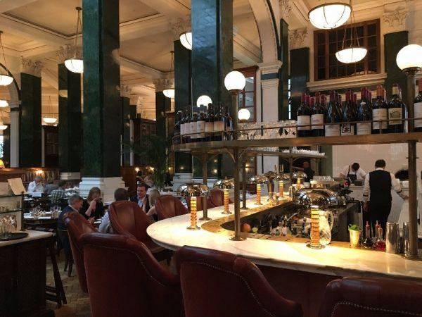 An interior shot of the bar and restaurant at Cecconi's.