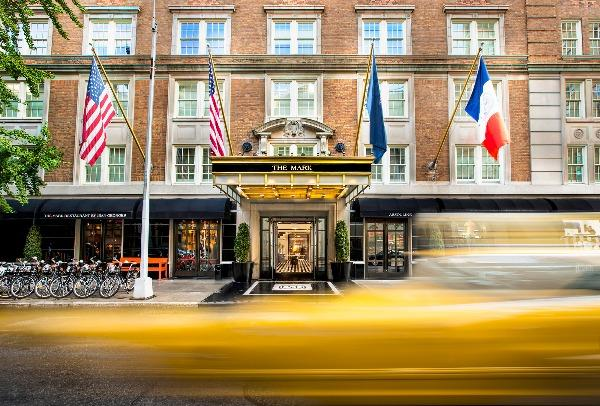 An exterior shot of the Mark Hotel in New York City, a luxurious long weekend escape.