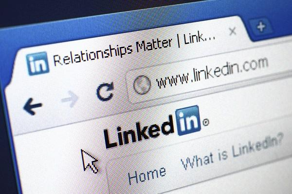 A closeup shot of a LinkedIn profile on a desktop computer.