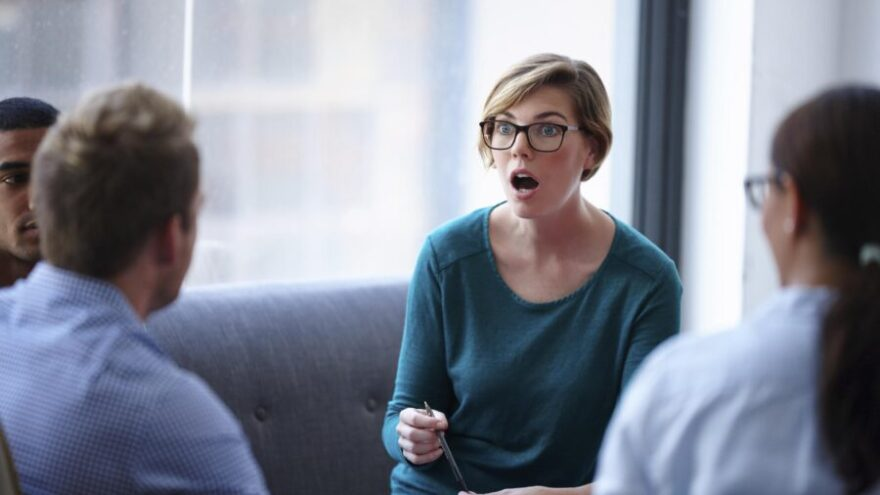 A PA hearing that she must complete some unusual tasks for her principal with a group of her colleagues.
