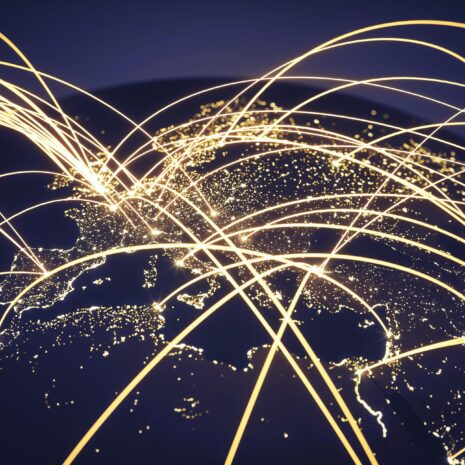 World at night with abstract network lines