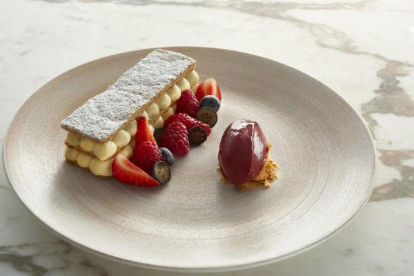 Mille Feuille with red fruits, cherry sorbet
